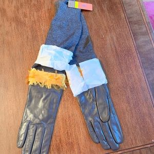Tory Burch Leather Paillette Fringe Gloves - NEW